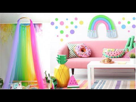 Бюджетный декор детской комнаты своими руками / Как сделать радугу из остатков обоев