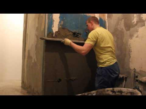 Ремонт квартиры своими руками Штукатурим стену на кухне за 15 минут
