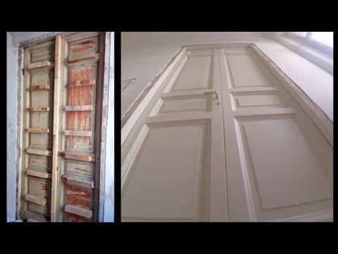ПОЛНОЕ ВИДЕО Реставрация и ремонт старых  деревянных межкомнатных дверей 1909 год. ПВА опилки мел.