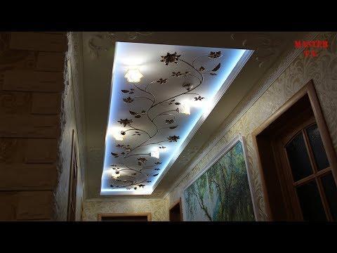 Двухуровневый потолок из гипсокартона с подсветкой в коридоре  Потолок со скрытой подсветкой