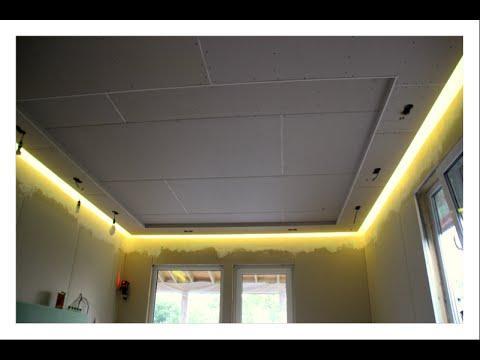 Парящий потолок из гипсокартона с подсветкой Мастер класс Монтаж подвесного потолка