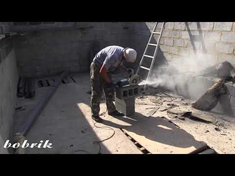 Ремонт крыши гаража - часть 24.  Кладка шлакоблока