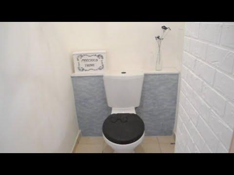 Бюджетный ремонт туалета. Имитация кирпичной кладки. Светильник-клетка.  Декор, Идеи, DIY.