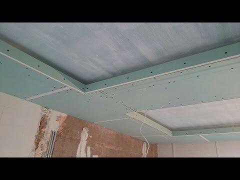 как сделать подсветку потолка : бортик с полкой для светодиодной ленты . Монтаж гипсокартона.